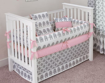 Designer Custom Made  - Elephants Baby Pink Crib Bedding Set