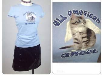 "90s ""All American Angel "" Baby Blue Angel Kitten with Wings T-Shirt // S - M"