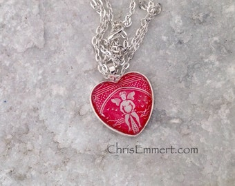 Cupid Heart Necklace, Bicycle Playing Card, Valentine, Heart Pendant