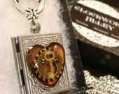 Steampunk Style Heart with Gear and Tiny Key Book LOCKET Necklace- Makes a great VALENTINES DAY Gift (1912)