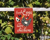 """Fresh Eggs from Happy Chickens 9"""" X 12"""" (Maraschino) Seaport Collection. SKU: SN912642"""