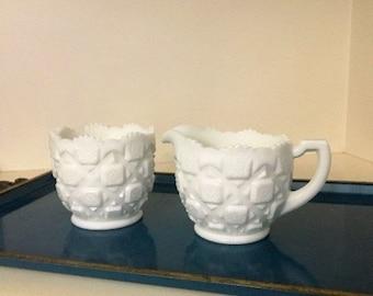 Vintage Westmoreland Creamer and Sugar Bowl/Quilt Pattern