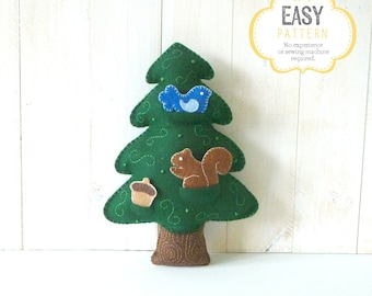 Plush Tree Sewing PATTERN // Woodland Forest Tree PDF // Make Your Own Hand Embroidered Felt Tree