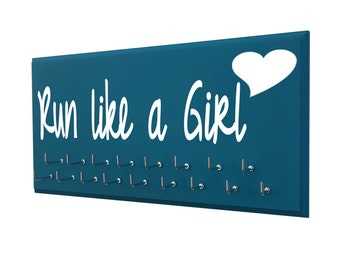 RUNNING MEDAL HOLDER - Run like a girl heart logo for teen runner - running gift