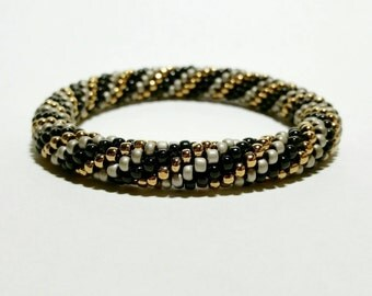 Muted Metallics Spiral Seed Bead Crochet Bangle - Ready to Ship