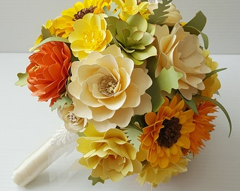 Paper Bouquet - Paper Flower Bouquet - Wedding Bouquet - Country Yellow - MADE TO ORDER