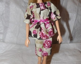 Tan and pink floral Peasant top & skirt set for Fashion Dolls - ed822