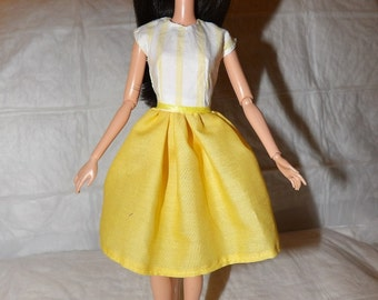 Bright yellow dress with white & yellow striped top for Fashion  Dolls - ed888