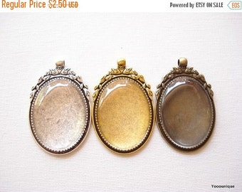 50% OFF Moving Sale - 1 set Large Oval Cameo Base with Glass Cabochon Antiqued Bronze / Antqiued Silver / Antiqued Gold 40x30mm B1257