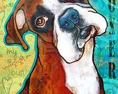 BOXER print 8x10 Dog Art Print Pet Art Portrait Print