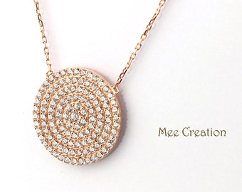 NE301001RG) Rose  Gold Plated 925 Sterling Silver CZ Circle Disc Necklace