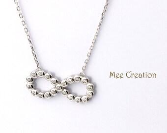 NE301002WG) 925 Sterling Silver White Gold Plated Infinity / Eternity / Twist Knot CZ Diamond Necklace