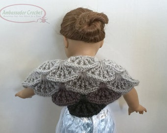 "18"" Doll Shawl Crochet Pattern PDF 227"