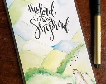 Midori Dashboard with Pocket Original Watercolor Art Print - Lord is My Shepherd