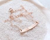 Hammered ROSE gold filled curved bar necklace, 14k rose gold filled, layering necklace, bar necklace