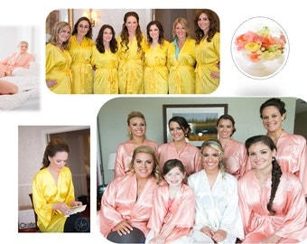 CORAL and GOLD silk robes, wedding robes, bridesmaid silk robe, dressinggown, personalized silk robe, kimono robes, floralrobe,bridal robe
