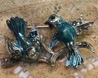 LOVE BIRDS Enameled Brooch,Blue Birds of Happiness ~Lovely Vintage Pin