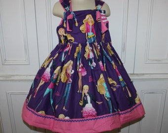 Barbie Girls Knot Dress Pink Purple Size 2T 3T 4T 5 6 NEW