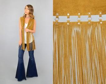 70's Leather FRINGE Cut-Out Vest