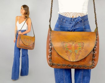 70's Hand Tooled BUTTERFLY Attaché