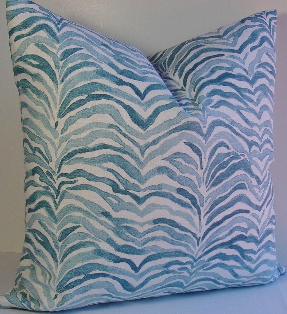 Aqua Teal Seaside Decorative pillow cover Designer beachy