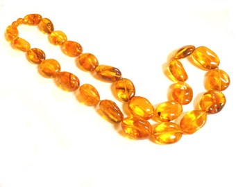 "Baltic Amber Necklace Honey Beaded Natural Untreated Olive 27"" 83.1 gram"