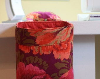 Thread Catcher,CLEARANCE, Sewing, Quilting, needle craft, Scrap Caddy, handmade, fabric by Kaffe Fassett- Ruby Color Story - MW