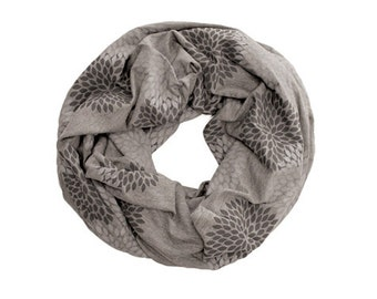 INFINITY SCARF - Screen Printed - Gray Double Flowers on Dark Gray