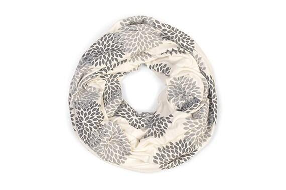 INFINITY SCARF - Screen Printed - Gray Flowers on Cream - Stocking Stuffer