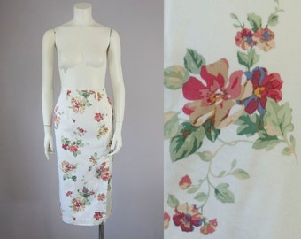 80s Vintage Floral Cotton Twill Midi Skirt. High Waist Long Pencil Skirt (S)
