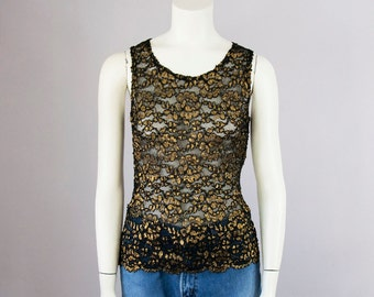 90s Vintage Gold Metallic Black Lace Tank Top Blouse (S)