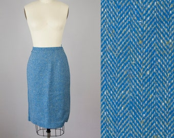 "1950s Vintage Blue and Sage Wool Tweed Herringbone Pencil Skirt (XS, S; 25"" Waist)"