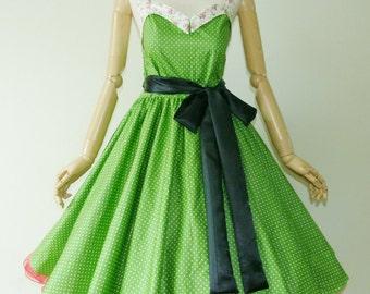 Bunny Vintage Green Polka Dot  50s Pin up Rockabilly Swing Dress Full Swing Skirt size SML