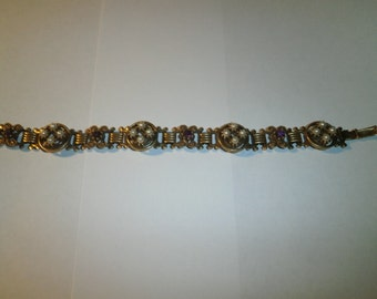 Vintage Bracelet, Faux Pearl/Purple Rhine Stones Bracelet, Costume Bracelet, Brass, circa 1950's, Vintage Bracelet, Costume Jewelry, Pearls