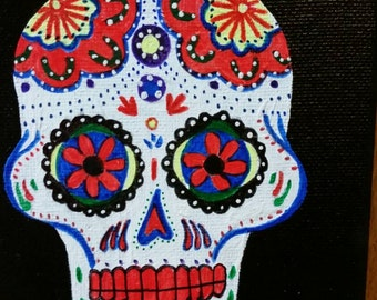 Original acrylic painting of Day of the Dead sugar skull
