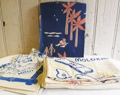 Vintage Hawaii Souvenir Tablecloth, Four Napkins in Original Box - Outstanding Unused Condition - Mid-Century 1940s