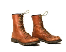 Vintage VTG VG 1940's 1950's Original Chippewa Shoe Company Leather Lace Up Boots Moc Toe Work Boots Made in Wisconsin Women's 9 - 9 1/2  A