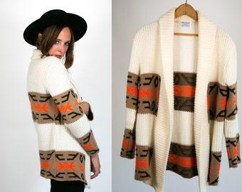 Vintage 1970's Southwest Neon Orange Cream and Brown Retro Sweater Acrylic Women's One Size Fits Most