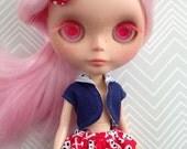 Navy Vest and Skully Skort set with hair clip ~~ for Blythe doll ~~ Three piece SET