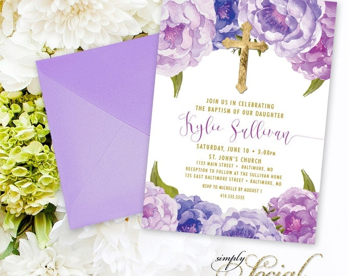 Baptism Invitation - First Holy Communion Invitation - Purple Peony Ranunculus and Faux Gold Foil Watercolor Floral Boho Printable
