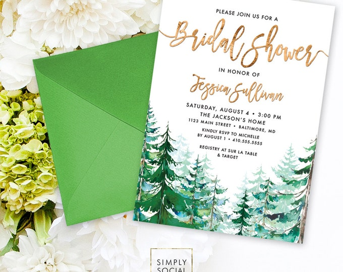 Pine Tree Bridal Shower Invitation - Watercolor Conifer Pine Tree Bridal Shower Invitation Evergreen Rustic Pine Tree Printable