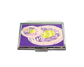 Credit Card Case RFID Card Case Purple Pink Flower Credit Card Case Metal Credit Card Case