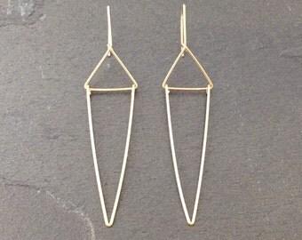 Gold filled traingle  geometrical earrings dainty modern minimalist jewelry; Art Deco Earrings