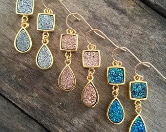 Druzy Earrings, Rose Gold Drusy Earrings, Druzy Quartz Jewelry, Rose Gold Earrings, Drusy Earrings, Gemstone Earrings, Titanium Druzy