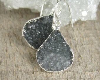 Black Druzy Earrings, Drusy Earrings, YOU CHOOSE, Geode Earrings, Quartz Drops, Sterling Silver