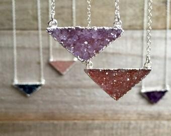 Druzy Necklace, Drusy Necklace, Gemstone Necklace, Geometric Jewelry, Triangle Necklace, Druzy Quartz Jewelry, Raw Stone Necklace