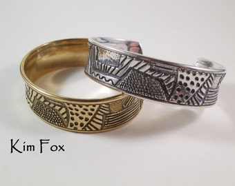 The Doodle or Zentangle Cuff in Silver or Bronze - Designed from Doodles made by Kim Fox and made into an adjustable cuff