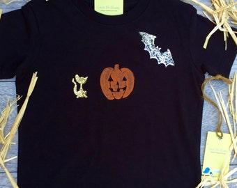 Halloween - Children - Jack o lantern  -Pumpkin  - Bat - Toddler T-Shirt - Black T-shirt