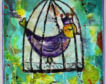 Mixed Media Original Art Bird