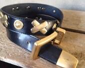 40% OFF Vintage 1990s Black Leather Donna Katz Gold Embellished Belt S